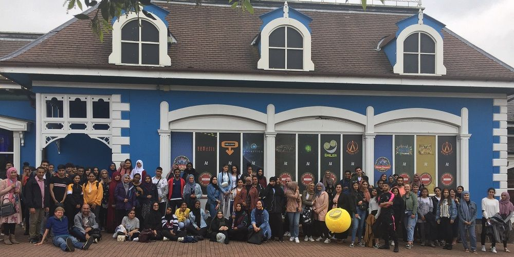 Photo of students standing outside Alton Towers