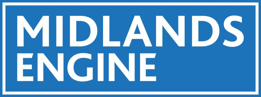 Midlands Engine logo. White text on a blue rectangle.